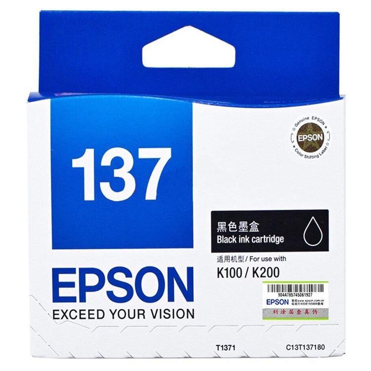 爱普生(EPSON)T1371(C13T137180)黑色墨盒 (适用于:K100 K200)